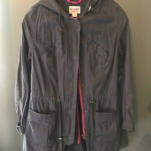 Grey Utility Jacket with Hot Pink interior lining